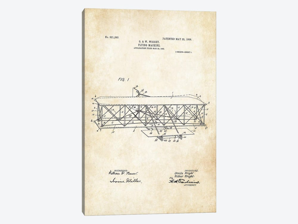 Wright Brothers Airplane by Patent77 1-piece Art Print