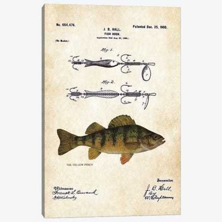 Yellow Perch Fishing Lure Canvas Print #PTN297} by Patent77 Canvas Art Print