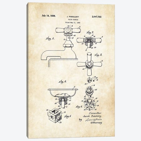 Bathroom Faucet (1936) Canvas Print #PTN30} by Patent77 Canvas Art