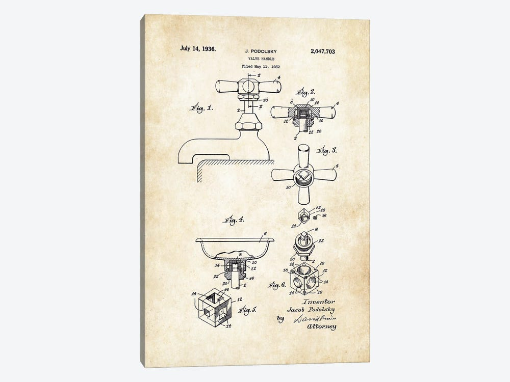 Bathroom Faucet (1936) by Patent77 1-piece Canvas Artwork
