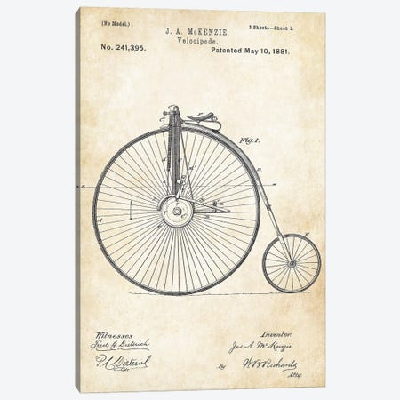 Big Wheel Bicycle (1881) Canvas Print #PTN33} by Patent77 Canvas Art