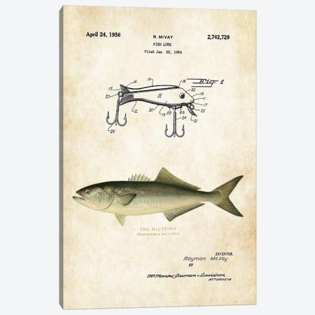 Bluefish Fishing Lure Canvas Print #PTN39} by Patent77 Canvas Art