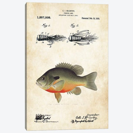 Bluegill Sunfish Fishing Lure Canvas Print #PTN40} by Patent77 Canvas Art Print
