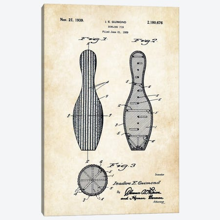 Bowling Pin Canvas Print #PTN43} by Patent77 Canvas Print