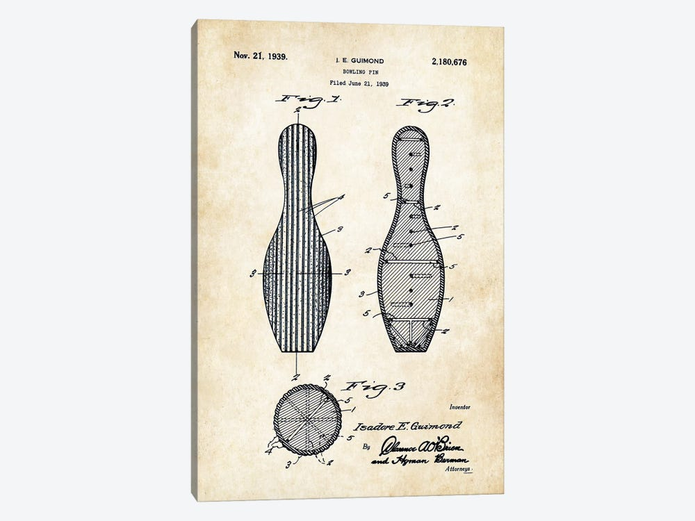 Bowling Pin by Patent77 1-piece Canvas Wall Art