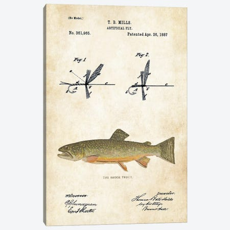 Brook Trout Fishing Lure Canvas Print #PTN45} by Patent77 Canvas Art