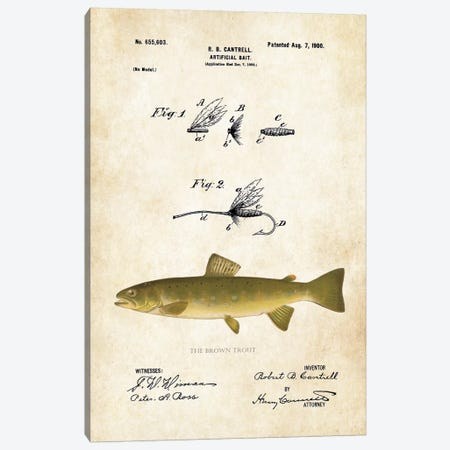 Brown Trout Fishing Lure Canvas Print #PTN46} by Patent77 Canvas Artwork
