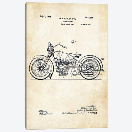 1928 Harley Davidson Motorcycle Canvas Print #PTN4} by Patent77 Canvas Art Print
