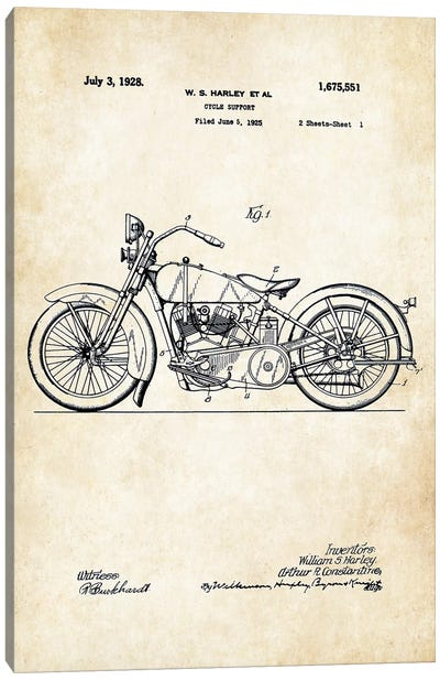 1928 Harley Davidson Motorcycle Canvas Art Print