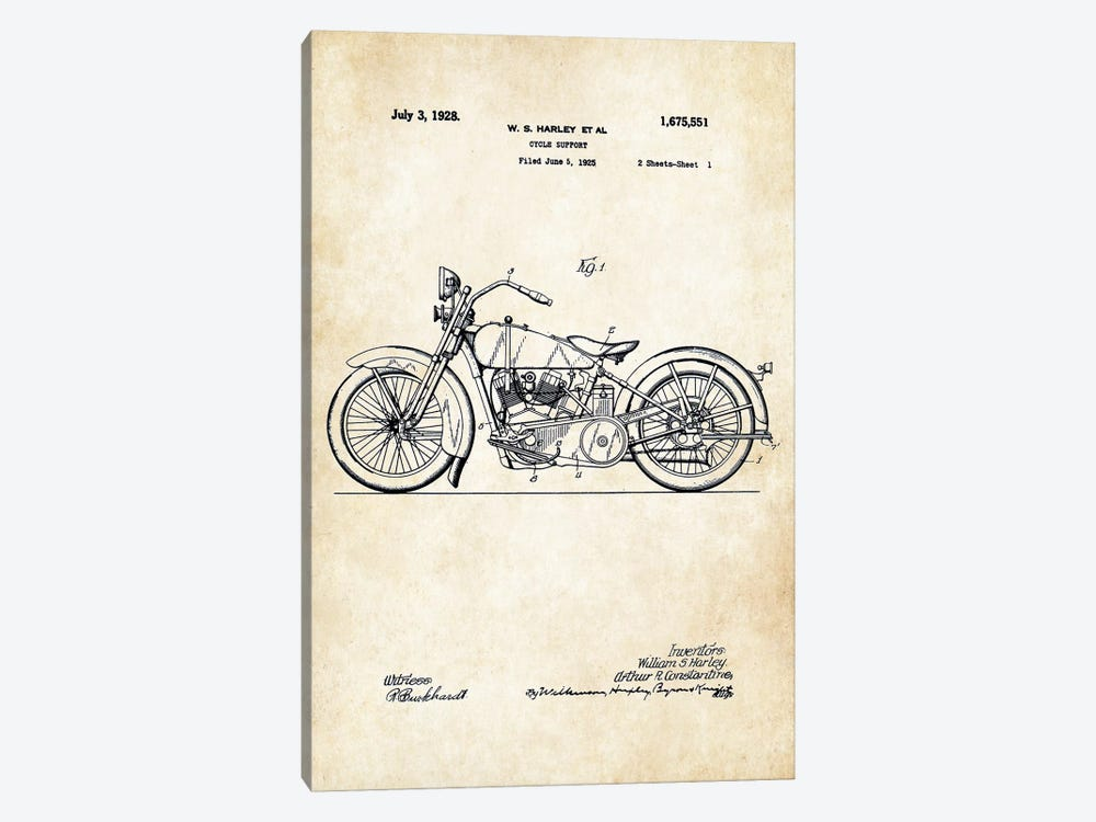 1928 Harley Davidson Motorcycle by Patent77 1-piece Canvas Print