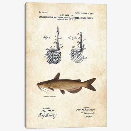 Channel Catfish Fishing Lure Canvas Print #PTN51} by Patent77 Canvas Art