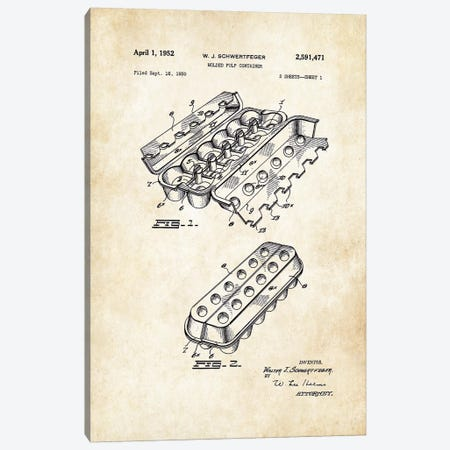 Chicken Egg Carton Canvas Print #PTN53} by Patent77 Canvas Art