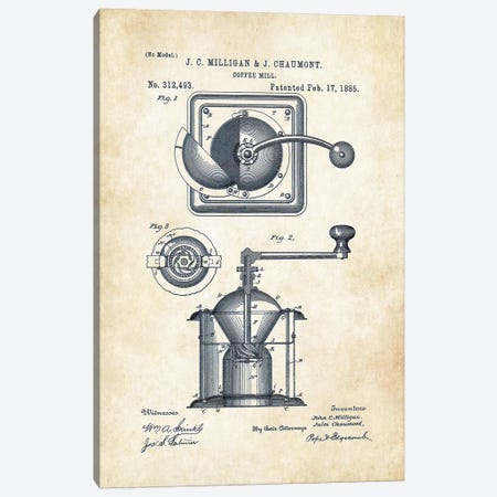 Coffee Mill Canvas Print #PTN59} by Patent77 Canvas Art