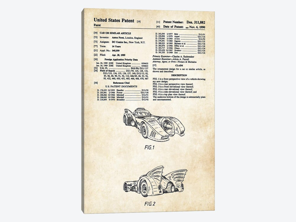 1989 Batmobile by Patent77 1-piece Canvas Art