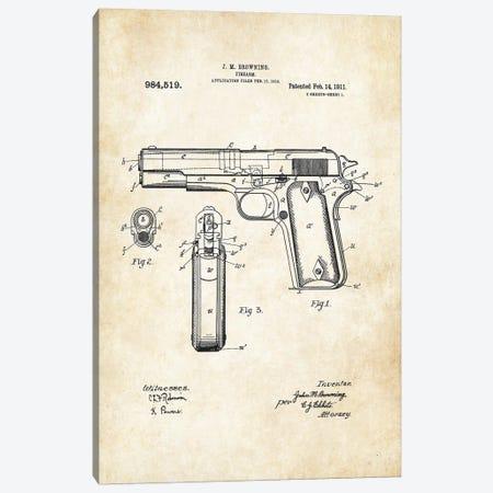 Colt 1911 Pistol Canvas Print #PTN62} by Patent77 Canvas Art Print