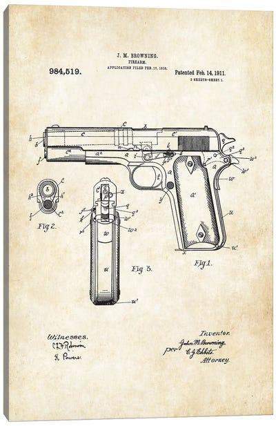 Colt 1911 Pistol Canvas Art Print