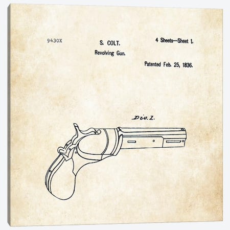 Colt Paterson Revolver (1830) Canvas Print #PTN63} by Patent77 Canvas Print