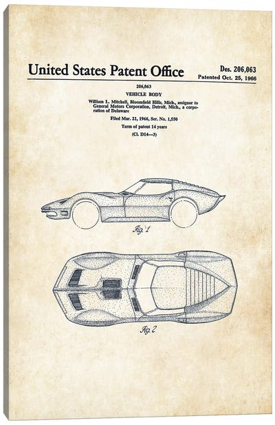 Corvette Mako Shark (1966) Canvas Art Print