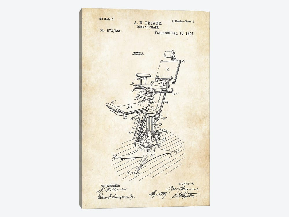 Dentist Chair (1896) by Patent77 1-piece Canvas Art