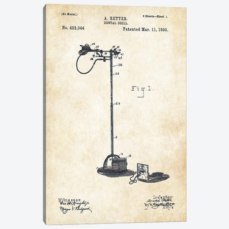 Dentist Drill (1890) Canvas Print #PTN75} by Patent77 Art Print