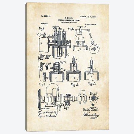 Diesel Engine (1898) Canvas Print #PTN77} by Patent77 Canvas Art Print