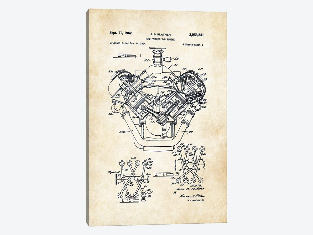426 Hemi Engine by Patent77 1-piece Canvas Artwork