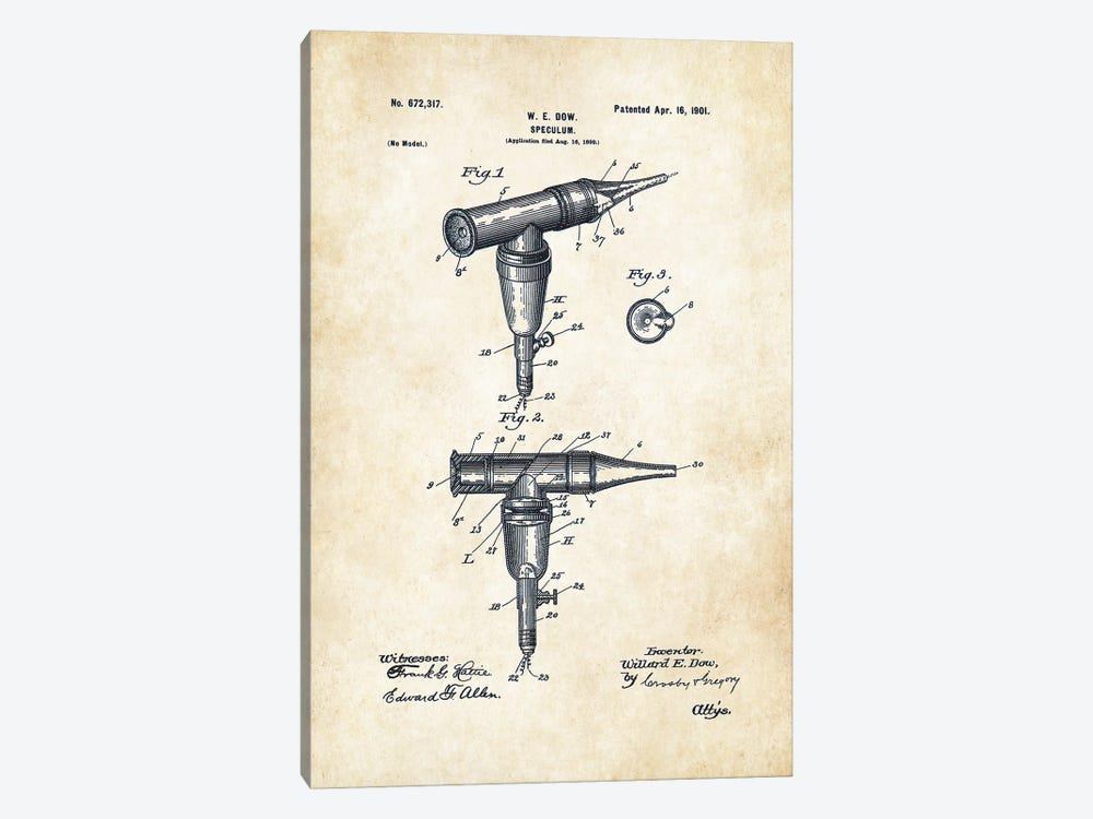 Doctor Otoscope by Patent77 1-piece Canvas Art Print