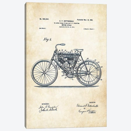 Early Motorcycle (1901) Canvas Print #PTN90} by Patent77 Canvas Art