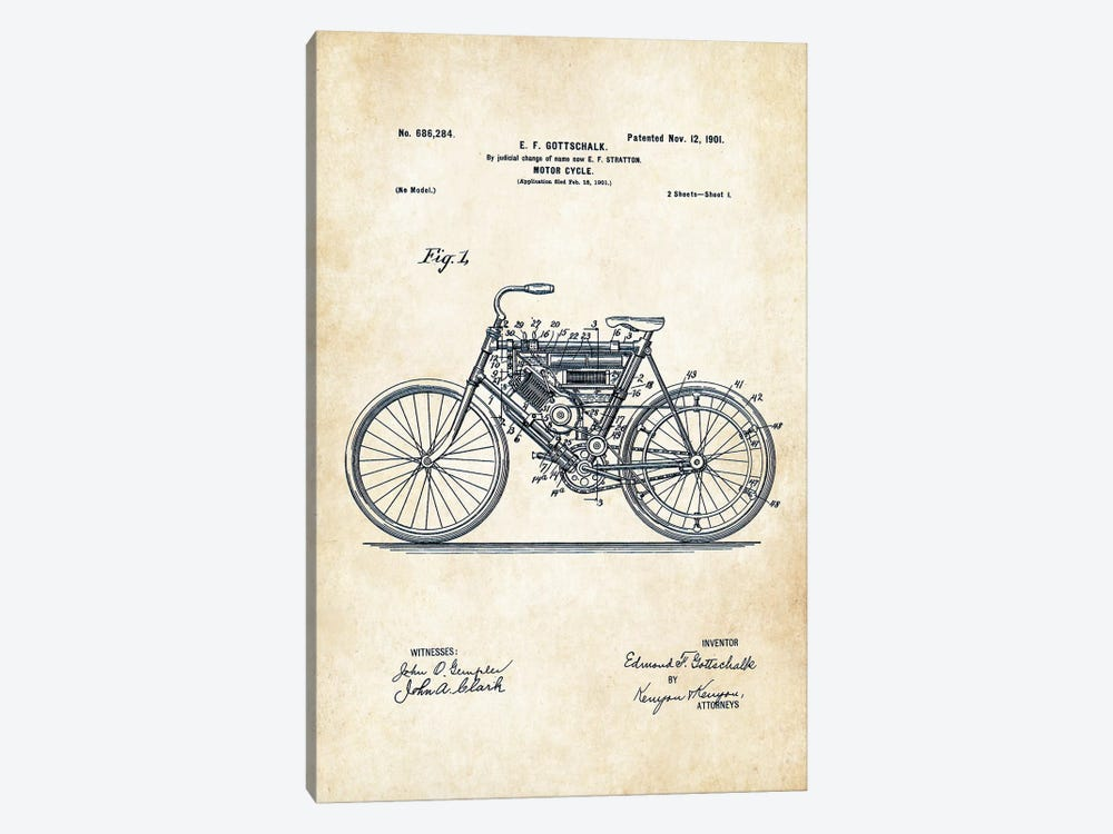 Early Motorcycle (1901) by Patent77 1-piece Canvas Artwork