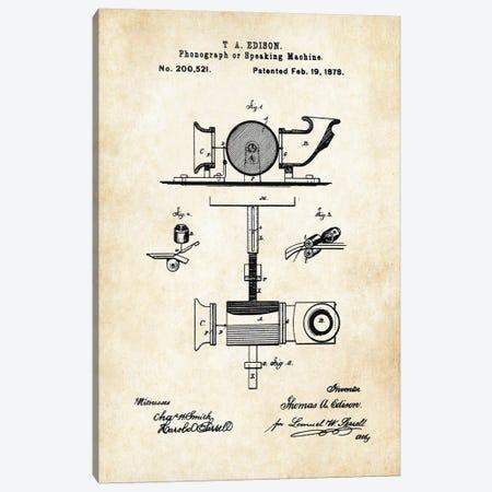Edison Phonograph Canvas Print #PTN92} by Patent77 Canvas Art