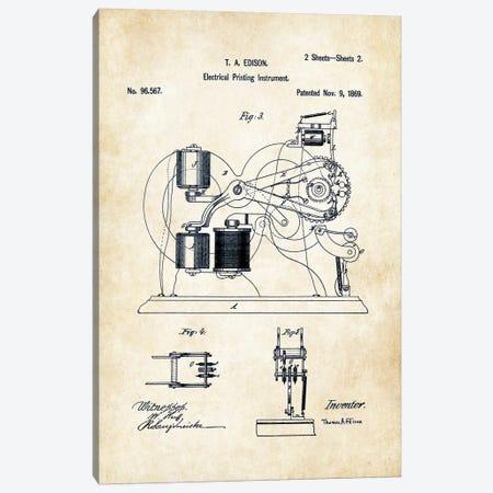Edison Ticker Tape  Canvas Print #PTN93} by Patent77 Canvas Wall Art