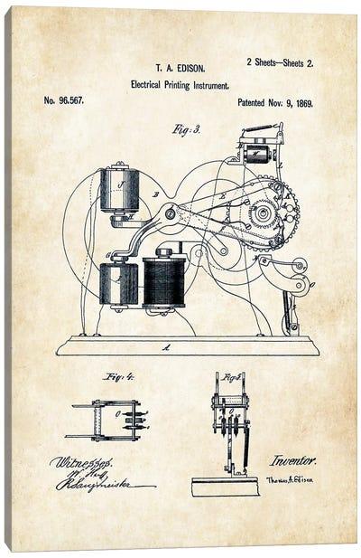 Edison Ticker Tape  Canvas Art Print