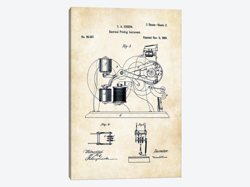 Edison Ticker Tape  by Patent77 1-piece Canvas Print