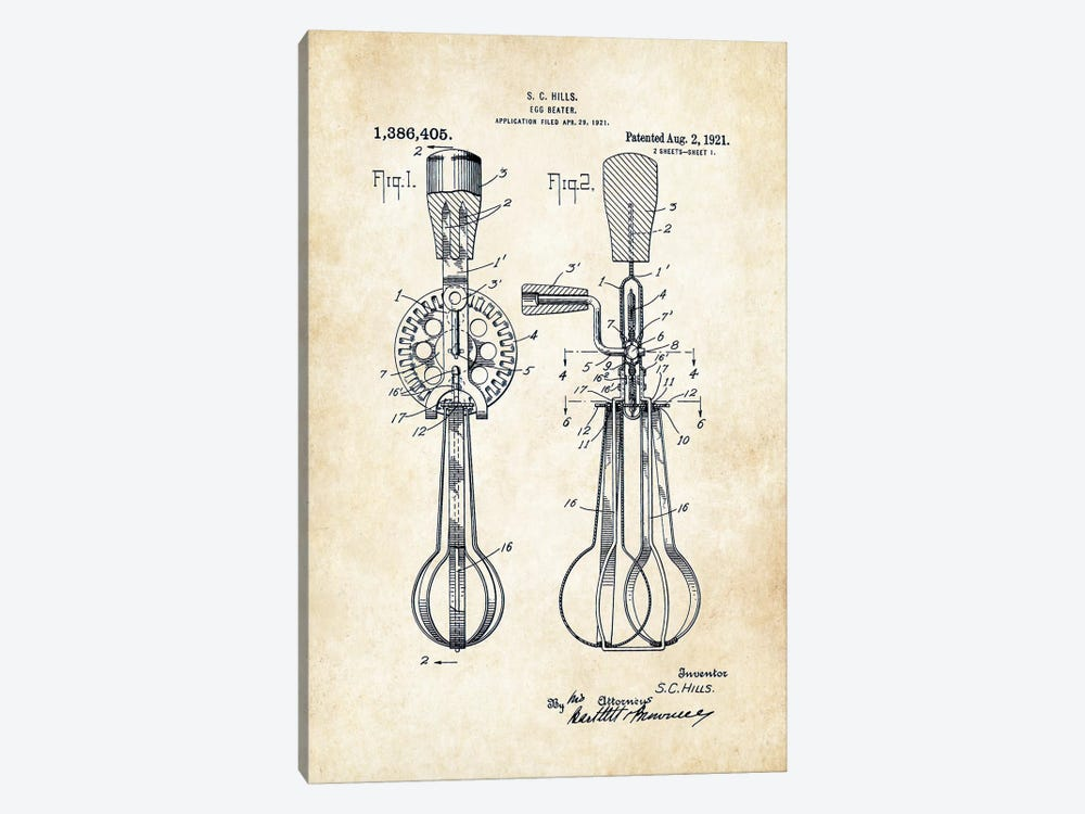 Egg Beater by Patent77 1-piece Canvas Art
