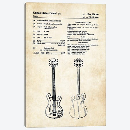 Epiphone Scroll Bass Guitar Canvas Print #PTN97} by Patent77 Art Print