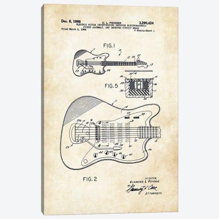 Fender Guitar (1966) Canvas Print #PTN99} by Patent77 Canvas Artwork