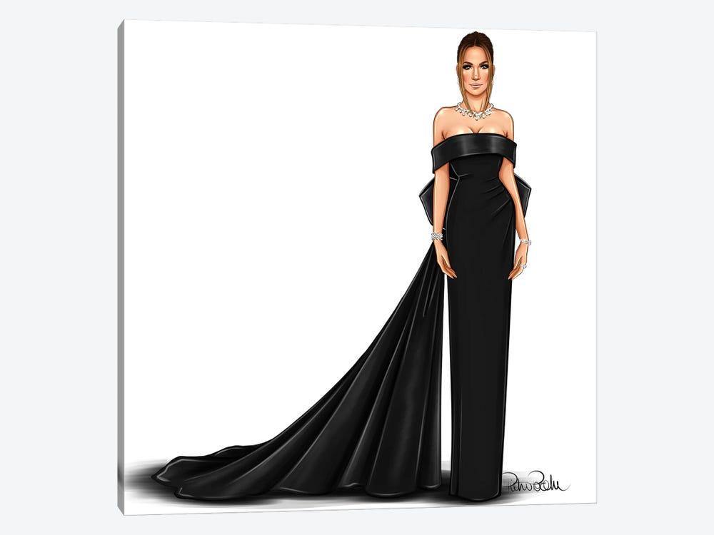 Jennifer Lopez - Lady In Black by PietrosIllustrations 1-piece Canvas Art
