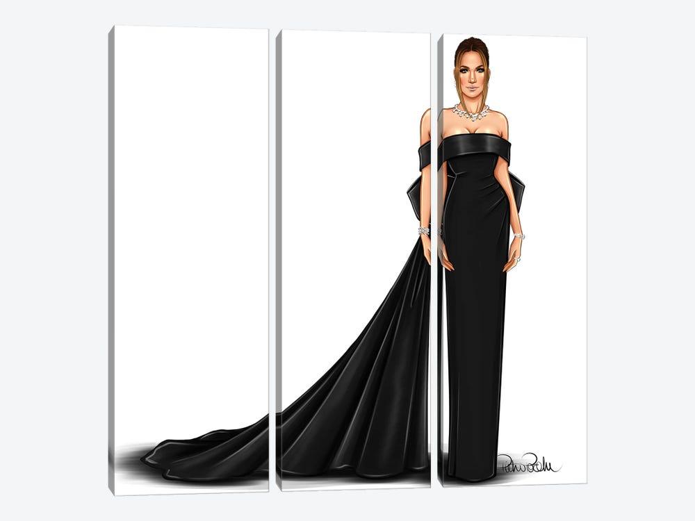 Jennifer Lopez - Lady In Black by PietrosIllustrations 3-piece Canvas Wall Art
