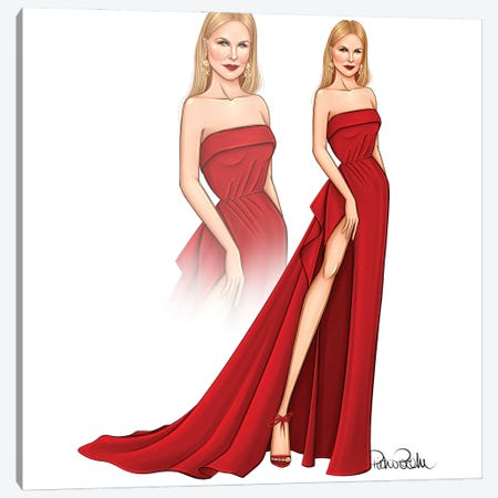 Nicole Kidman - Red Canvas Print #PTO14} by PietrosIllustrations Canvas Art
