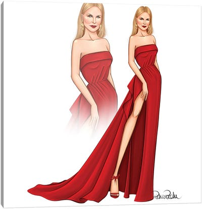 Nicole Kidman - Red Canvas Art Print