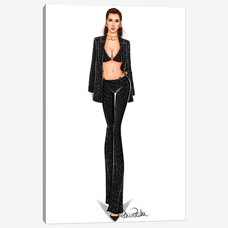 Dress To Kill - Bella Hadid X Versace Canvas Print #PTO20} by PietrosIllustrations Canvas Artwork