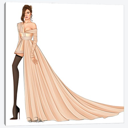Gigi Hadid - Met Gala Canvas Print #PTO22} by PietrosIllustrations Canvas Art