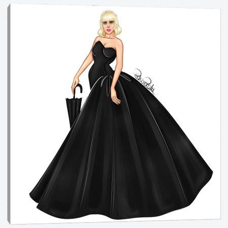 Lady Gaga - Black Canvas Print #PTO23} by PietrosIllustrations Canvas Wall Art