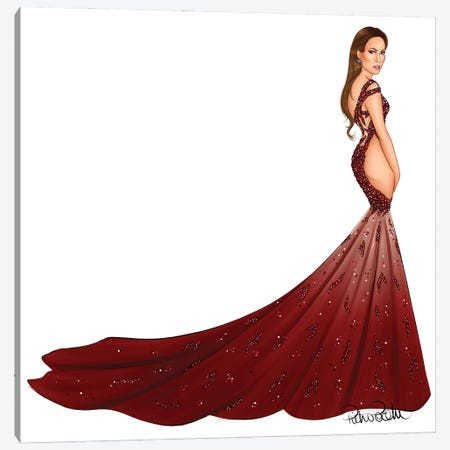 Jennifer Lopez - Versace Dragon Canvas Print #PTO24} by PietrosIllustrations Canvas Print