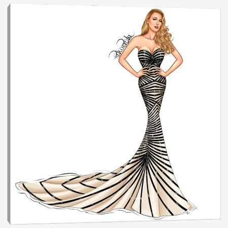 Blake Lively - Hollywood Waves Canvas Print #PTO31} by PietrosIllustrations Canvas Print