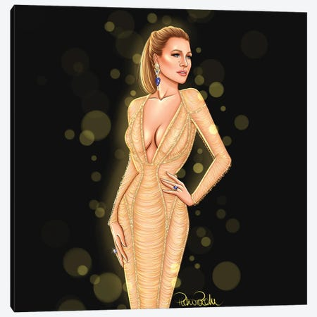 Blake Lively - Wonderland In Versace Canvas Print #PTO4} by PietrosIllustrations Canvas Wall Art