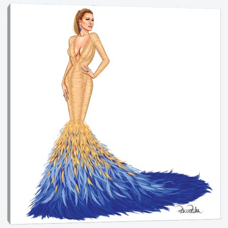 Blake Lively - Met Gala In Versace Canvas Print #PTO5} by PietrosIllustrations Canvas Artwork