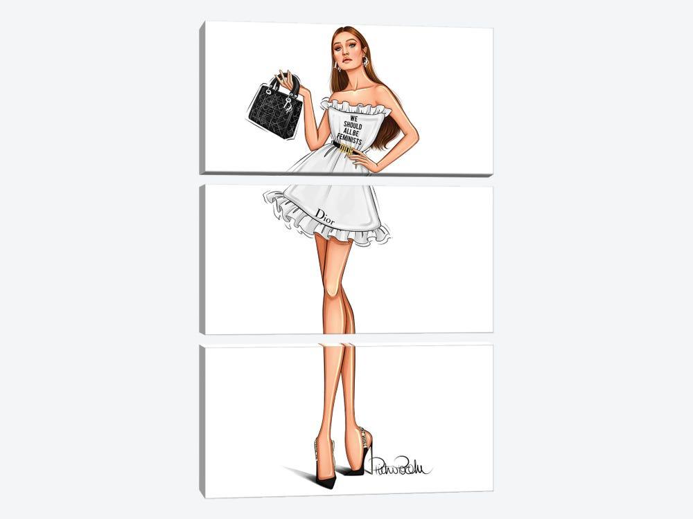 Gigi Hadid - Lady Dior by PietrosIllustrations 3-piece Canvas Print