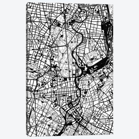 Berlin Black And White Canvas Print #PUB12} by Planos Urbanos Canvas Print
