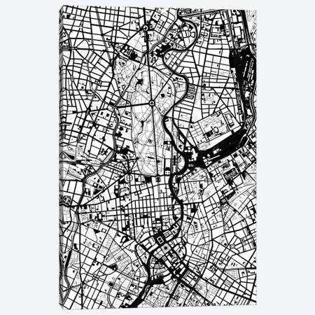 Berlin Black And White Canvas Print #PUB12} by Planos Urbanos Canvas Print